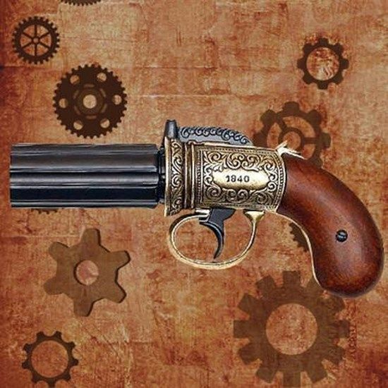 MuseumReplicas_com carries steampunk weapons and accessories, such as this Pepper Box Revolver.jpeg